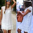 New Sexy Women White Lace Dress Summer Sleeveless Evening Party Short Mini Dress