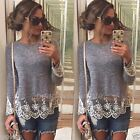 Fashion Women Summer Vest Top Long Sleeve Lace Blouse Casual Tank Tops T-Shirt