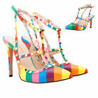 Rainbow Womens Rivets Mid High Heels Shoes Pointed Toe Hasp Sandals UK Size 2-9