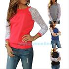 Women Long Sleeve Sweatshirt Lace Patchwork Hoodies Crewneck Casual Blouse Shirt