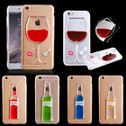 For iPhone 5 5S 6/6 Plus Moving Liquid Quicksand Case 3D Red Wine Glass Cocktail