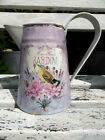 FRENCH SHABBY CHIC METAL JUG FLEURS JARDIN VINTAGE PITCHER  BIRDS AND FLOWERS