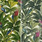 New Grandeco Ideco Exotic Bird Pattern Parrot Motif Tropical Leaves Wallpaper
