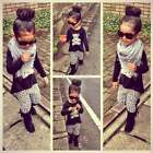 EN2 Kids Girls 2pcs O-Neck Long Sleeve Blouse+Print Elastic Waist Pants Leggings