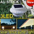 Solar Power 3 LED Fence Gutter Light Outdoor Garden Wall Yard Stairway Lamp NEW