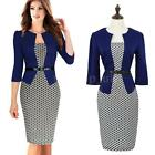 Womens Formal Business OL Stretch Bodycon Cocktail Party Evening Pencil Dress GZ