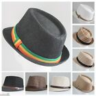 NEW MEN WOMEN FEDORA SHORT BRIM TRILBY BLACK BEIGE BROWN WHITE RASTA LACE HAT IW