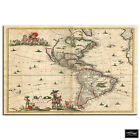 Vintage America's   Maps Flags BOX FRAMED CANVAS ART Picture HDR 280gsm