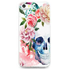 TPU Case for iPhone 5/5s - Water Color Skull Flower