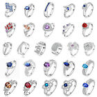 1pc 26 Styles CZ 925 Sterling Silver Womens Wedding Engagement Ring US Size 7 8