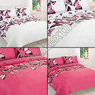 BUTTERFLY REVERSIBLE VINTAGE CHIC PINK WHITE QUILT DUVET COVER BEDDING SET