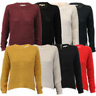 Ladies Love Knitwear Jumpers Womens Crew Neck Zip Long Sleeved Knitted Winter