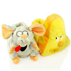 KIDS GIRLS BOYS MOUSE & CHEESE NOVELTY COMFORT FLAT FUR WINTER SLIPPERS SIZE