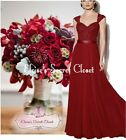 RIVA Berry Red Lace Bead Chiffon Maxi Bridesmaid Ballgown Dress Sizes UK 6 - 18