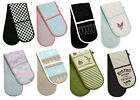 100% Cotton Double Oven Gloves Thick Padded Heat Resistant Mitts Various Designs