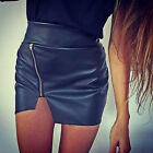 Women Sexy High Waisted Faux Leather Casual Short Mini Pencil Slim Skirt Dress