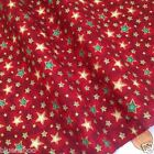 Red & gold vintage star Christmas fabric 100 % cotton per 1/2 mtr or per FQ