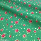 Emerald green & red star Christmas fabric 100 % cotton per 1/2 mtr or per FQ