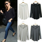 Women's Sexy Loose Cotton V-Neck Tops Long Sleeve T-Shirt Casual Blouse Pullover