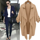 Womens Casual Loose Batwing Jacket Trench Coat Waterfall Cardigan Outwear Tops