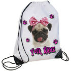 PERSONALISED PUG PURPLE & PINK PAW PRINT DESIGN PE GYM SWIMMING SHOE SCHOOL BAG