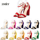 Women's Open Toe Ankle Straps Sandals Velvet Leather High Heels Pumps Sexy Shoes