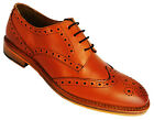 Catesby Surrey Men's Tan Lace Up Wingtip Brogues With Leather Upper And Sole New