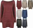 Plus Size Womens Long Sleeve Knitted Baggy Dip Hem High Low Pocket Ladies Top