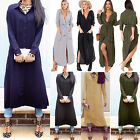 Womens Lapel Chiffon Loose Long Shirt Dress Blouse Tops Casual Party Maxi Dress