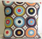 OASIS FABRIC CUSHION COVERS RETRO 60S STYLE BROWN BLUE ORANGE GREEN BLACK RED