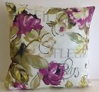 VINTAGE STYLE FLORAL SINGLE CUSHION COVERS PLUM FLOWERS CREAM BACKGROUND