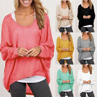 Women Long Sleeve T shirt Pullover Sweater Oversized Loose Jumper Tops Plus Size