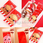 100pcs Red Christmas Stocking Man Santa Cookie Candy Sweet Party Gift Cello Bags