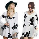 Women Floral Print V Neck Flare Sleeve Dress Lace Party Beach Dress White R0DF