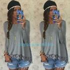 New Fashion Women Long Sleeve Shirt Casual Lace Blouse Loose Cotton Tops T Shirt