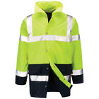 Mens Raiken Hi Vis 2 Tone Visibility Jacket High Viz Work-Wear Yellow/Navy Coat