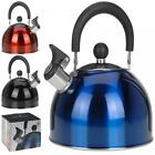 2.5L STAINLESS STEEL STOVE TOP CAMPING FISHING CORDLESS GAS WHISTLING KETTLE POT