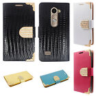 For LG Leon C40 Premium Leather Wallet Case Pouch Flip Cover Crocodile Skin