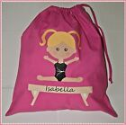 PERSONALISED GIRLS GYMNASTICS PE PUMP GYM SCHOOL NURSERY COTTON  DRAWSTRING BAG
