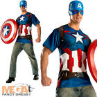 Captain America T-Shirt + Mask Mens Fancy Dress Superhero Adults Costume Outfit