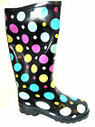 LADIES WELLINGTON BOOTS IN BLACK WITH MULTI-COLOURED POLKA DOTS - X1109 ES