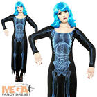 Spooky X-Ray Skeleton Long Halloween Fancy Dress Ladies Costume Womens Outfit
