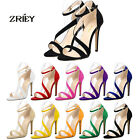 ZriEy(TM) Womens Flannelette High Heel Ankle Cross Strap Buckle Party Sandals