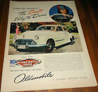 1946 OLDSMOBILE 2-door AD White w/ Tan Top~Woman Driver~Smart way to drive