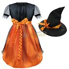 Kids Girls Witch Hat costume Princess party Gown Dress Halloween Cosplay Costume