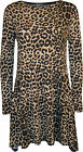 New Womens Plus Size Leopard Animal Print Long Sleeve Ladies Swing Dress 16-22