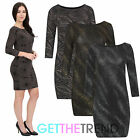 Womens 3/4 Sleeve Glitter Bodycon Dress Girls Fitted Going Out Mini Club Dress