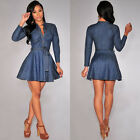 Fashion Women Long Sleeve Cocktail Dress Sexy Denim Skirt Evening Short Dress w6