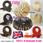 "16""18""20"" Double Drawn Micro Loop Ring beads Human Hair Extensions Natural 1g/s"