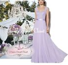 RIVA Lilac Lavender Lace Chiffon Bridesmaid Beaded Ballgown Dress UK Sizes 6 -18
